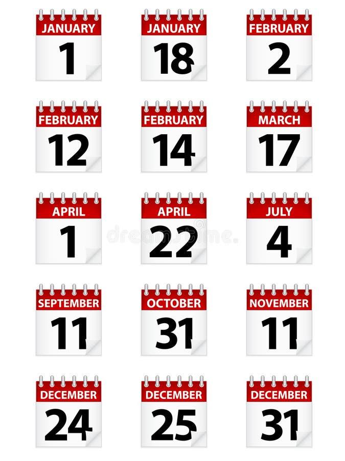 Ícones do calendário ilustração do vetor