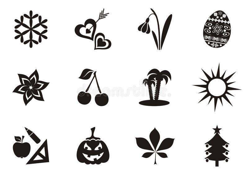 Ícones do calendário ilustração stock