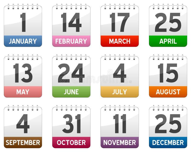 Ícones do calendário ajustados ilustração royalty free