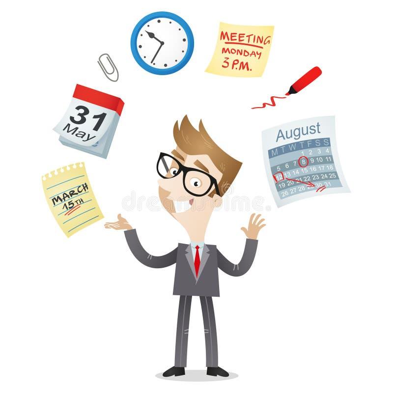 Ícones do calendário da gestão de tempo do homem de negócios ilustração royalty free