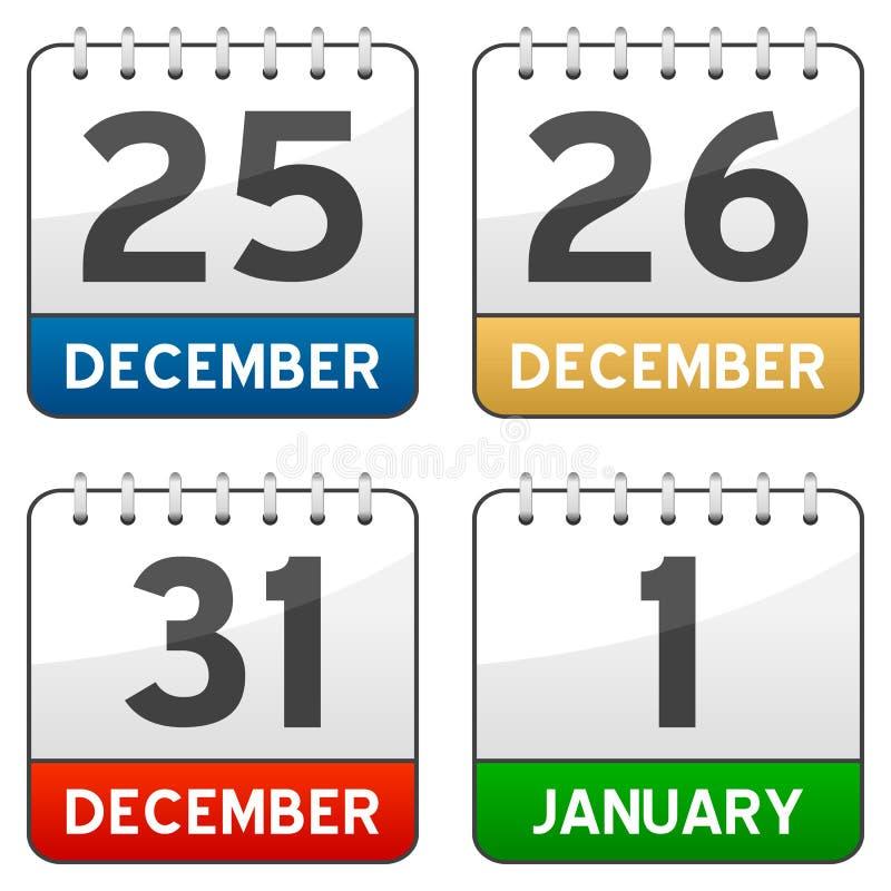 Ícones do calendário do tempo do Natal ilustração do vetor