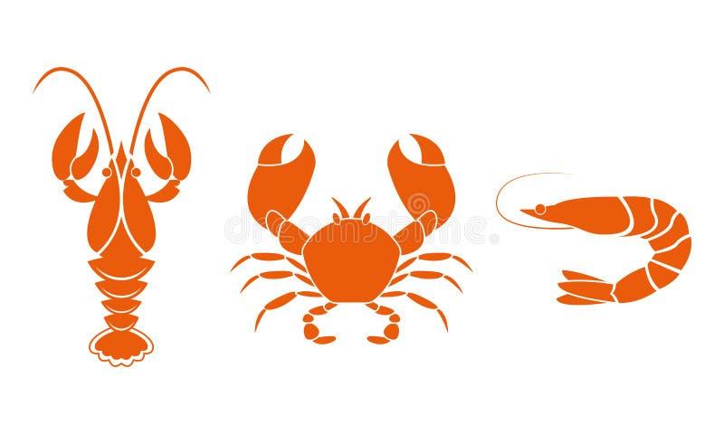 Ícones do camarão, dos lagostins e do caranguejo Elementos do projeto do marisco Ilustração do vetor ilustração do vetor