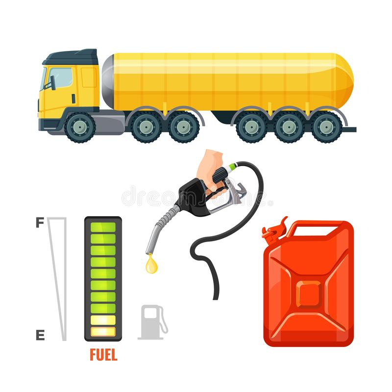 Ícones do caminhão de combustível, equipamento da gasolina e fontes Cartucho e gancho ilustração royalty free