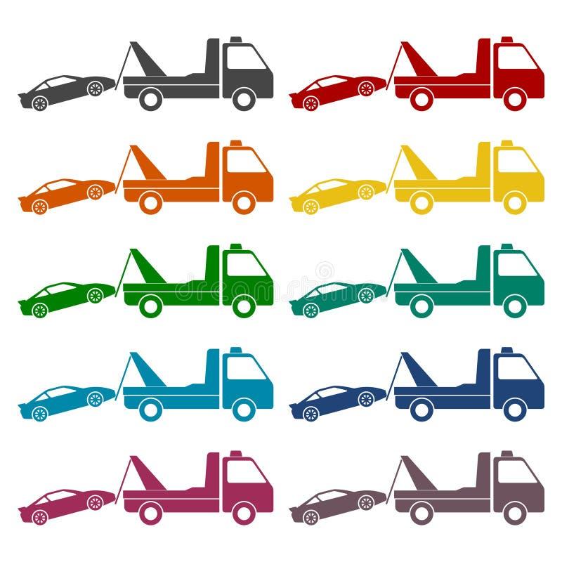 Ícones do caminhão de reboque do carro ajustados ilustração do vetor