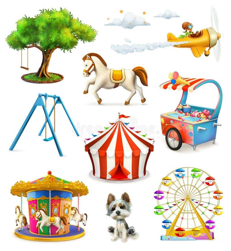 Ícones do campo de jogos das crianças ilustração do vetor