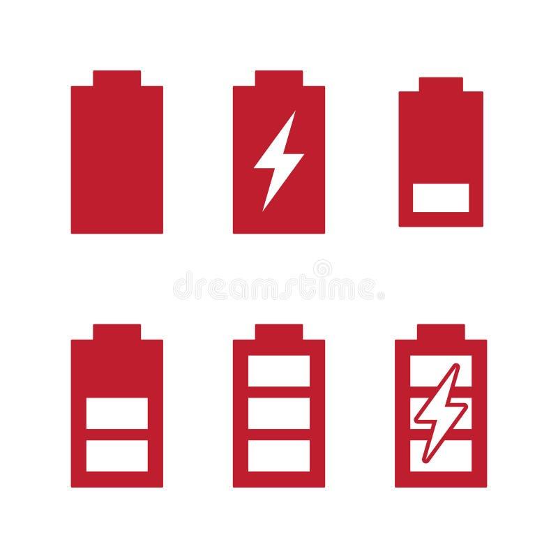 Ícones do carregamento de bateria de indicadores de nível da carga e das fases ajustados ilustração do vetor