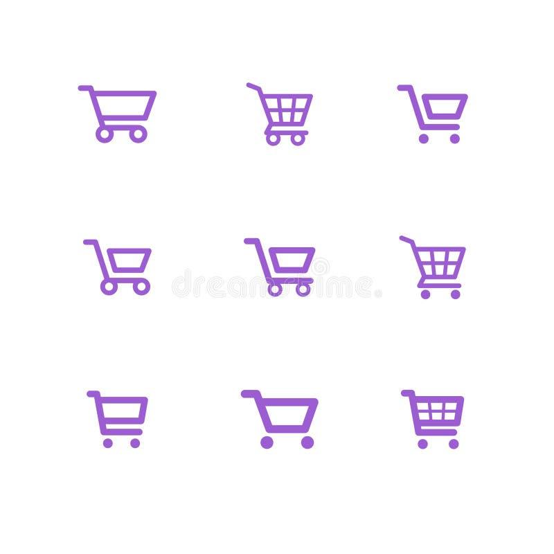 Ícones do carrinho de compras, coleção fotografia de stock