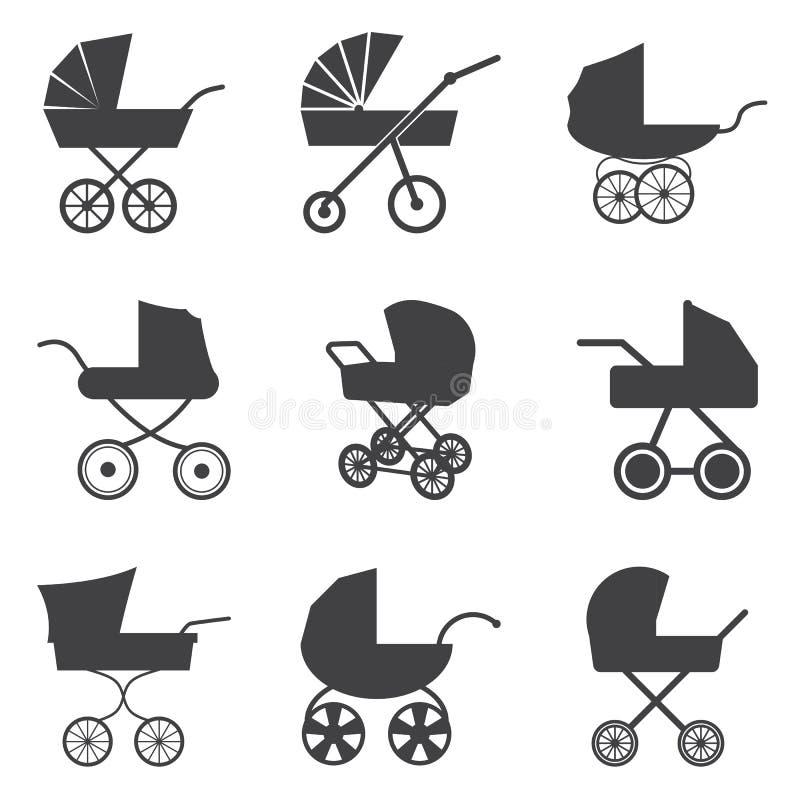Ícones do carrinho de criança de bebê ilustração do vetor