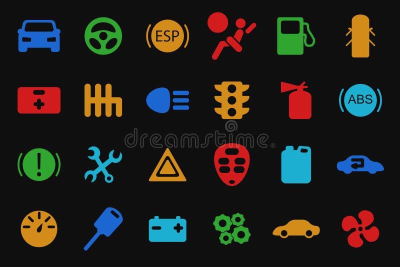 Ícones do carro do vetor ajustados ilustração stock