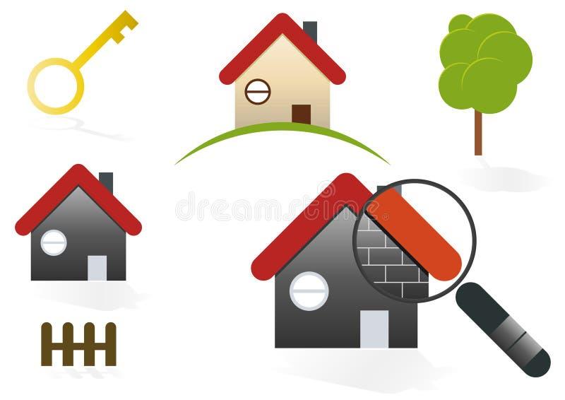 Ícones do casa & os Home ilustração do vetor