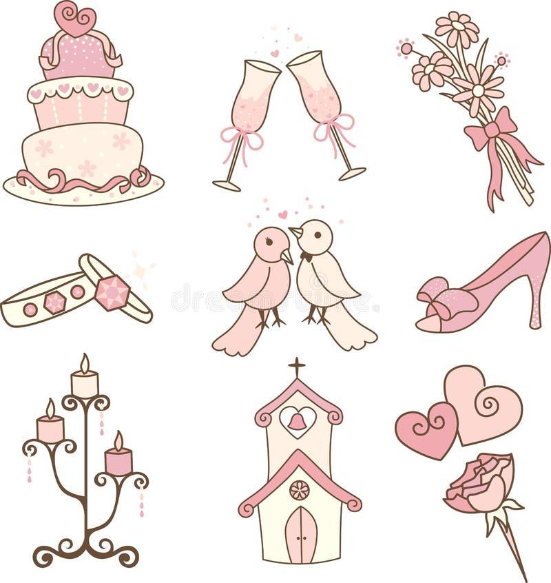 Ícones do casamento ilustração do vetor
