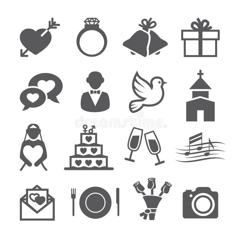Ícones do casamento ilustração royalty free