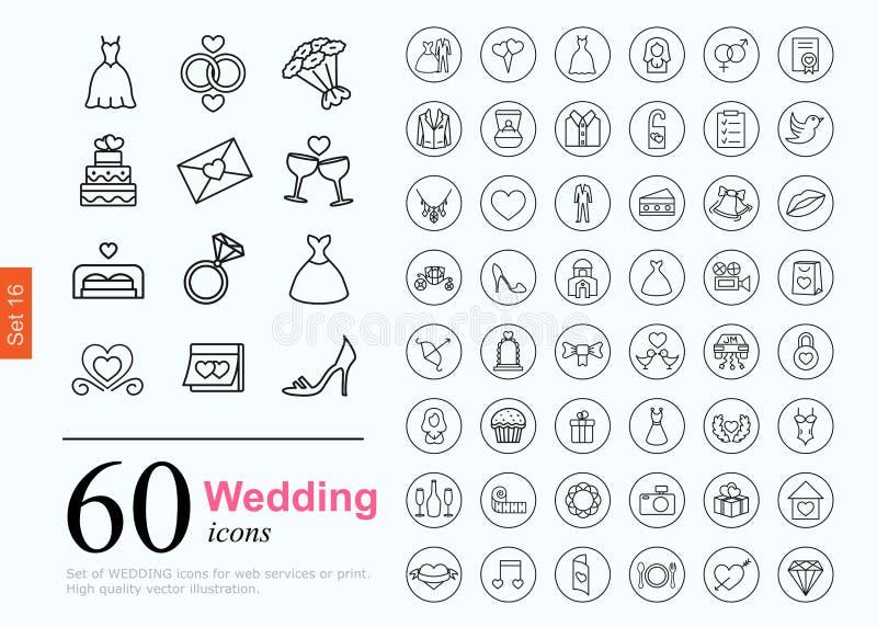 60 ícones do casamento ilustração stock