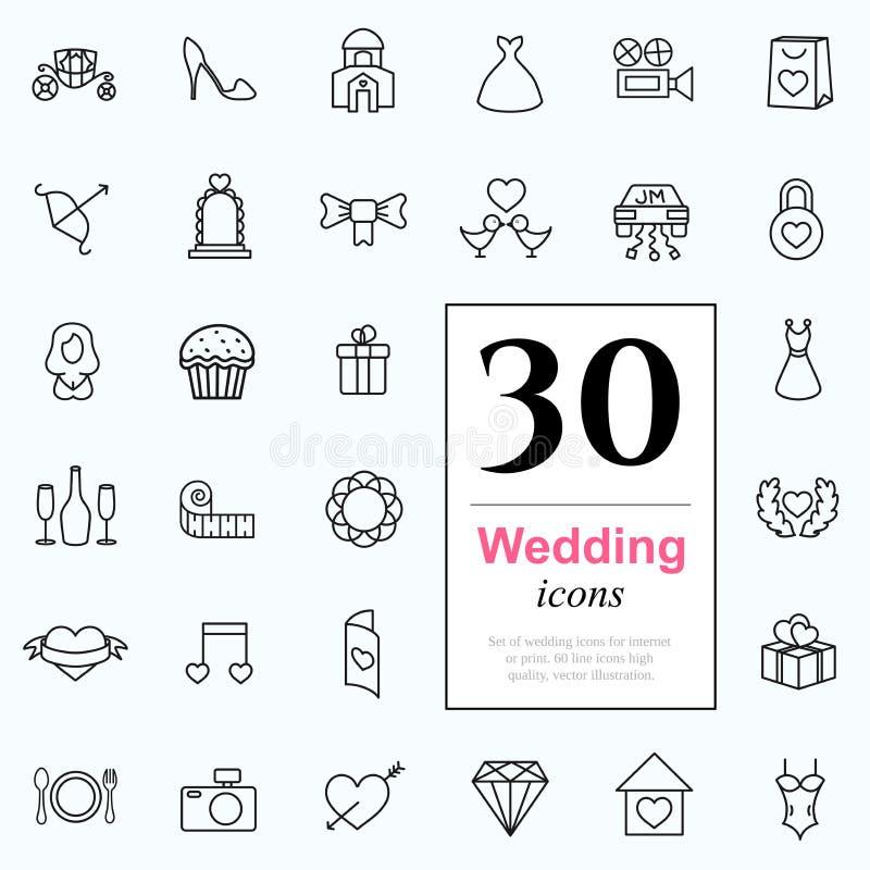 30 ícones do casamento ilustração royalty free