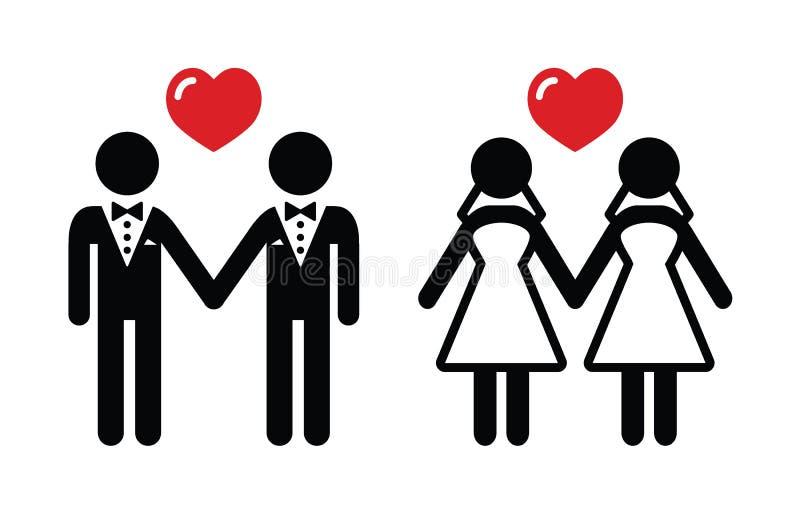 Ícones do casamento entre homossexuais ajustados ilustração stock