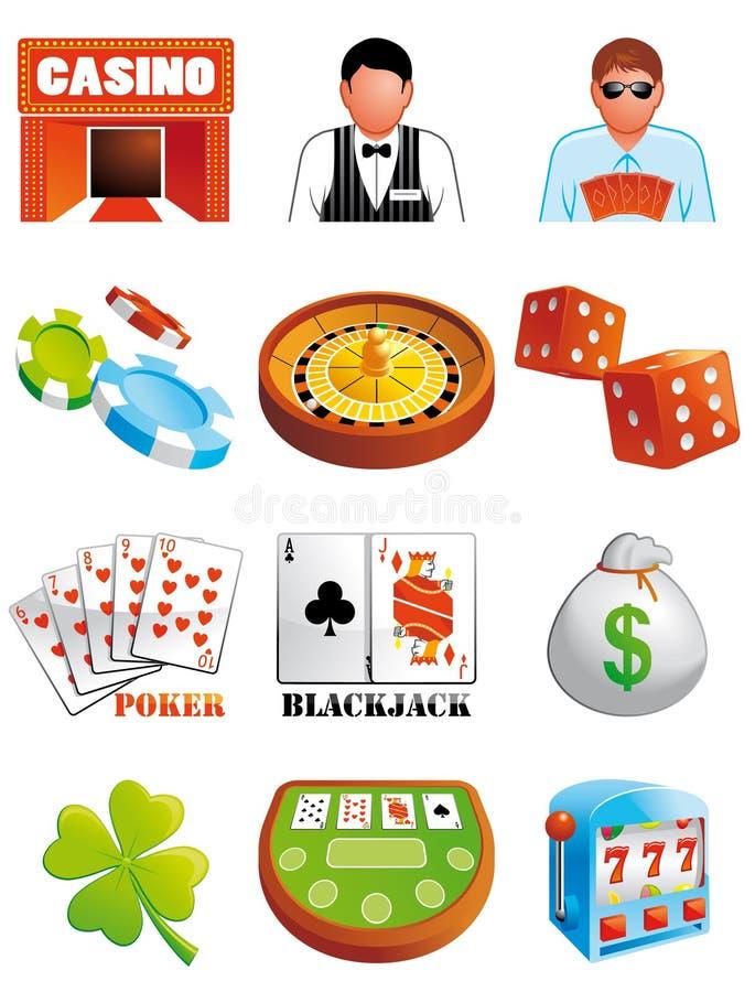 Ícones do casino ilustração stock
