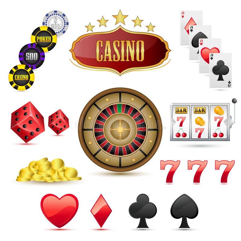 Ícones do casino ilustração royalty free
