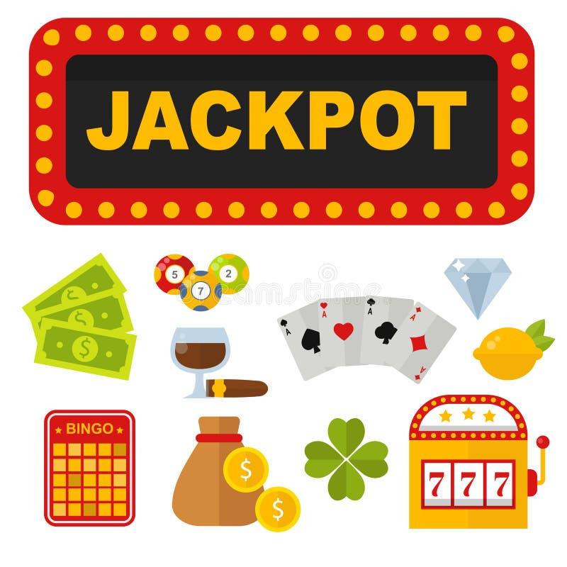 Ícones do casino ajustados com ilustração do jogo de pôquer do slot machine do palhaço do jogador da roleta ilustração royalty free