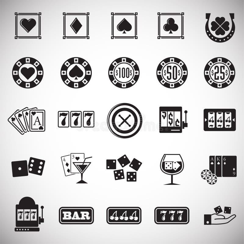 Ícones do casino ajustados no fundo branco para o gráfico e o design web Sinal simples do vetor S?mbolo do conceito do Internet p ilustração do vetor