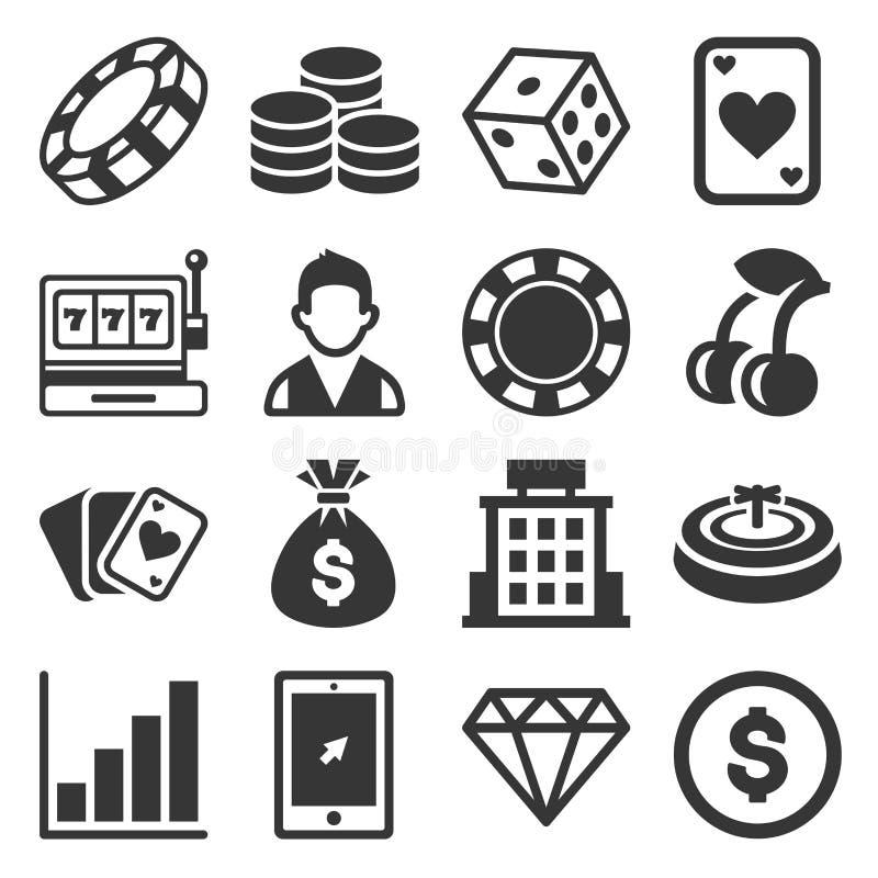 Ícones do casino ajustados no fundo branco Vetor ilustração do vetor
