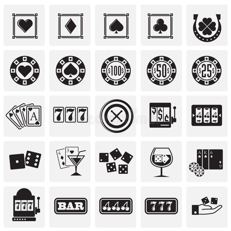 Ícones do casino ajustados no fundo dos quadrados para o gráfico e o design web Sinal simples do vetor S?mbolo do conceito do Int ilustração stock