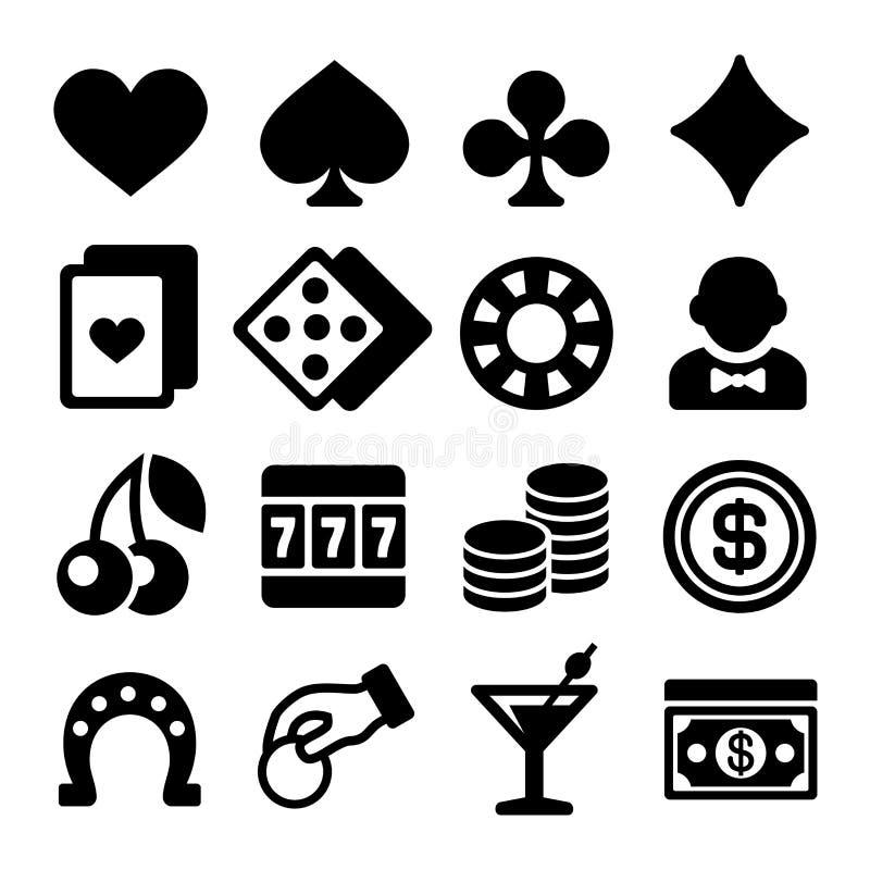 Ícones do casino de jogo ajustados no fundo branco ilustração royalty free