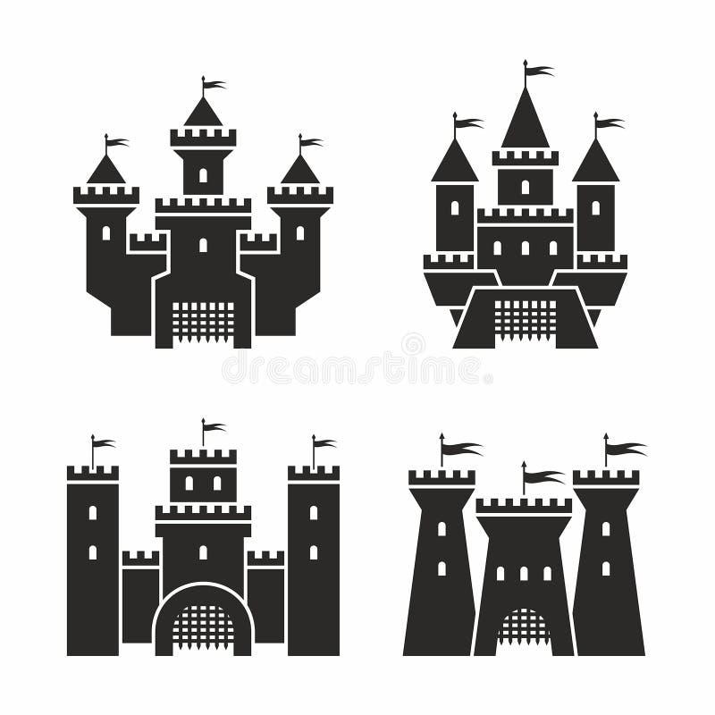 Ícones do castelo ilustração do vetor