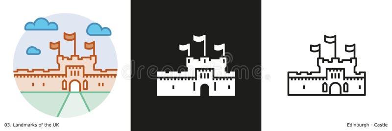 Ícones do castelo de Edimburgo ilustração stock