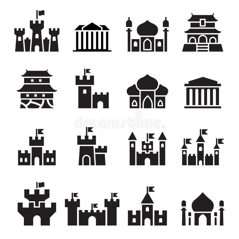 Ícones do castelo & do palácio ilustração royalty free