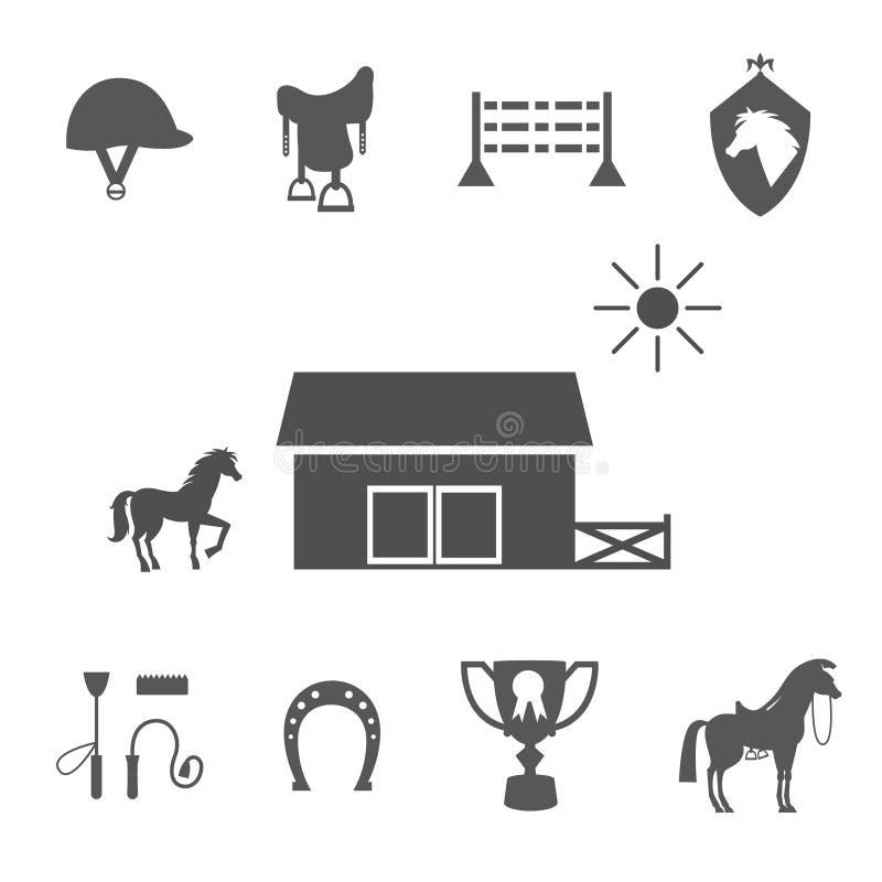 Ícones do cavalo do Grayscale no fundo branco ilustração do vetor