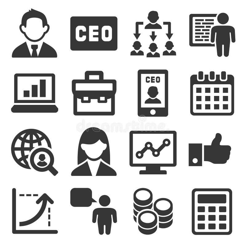 Ícones do CEO e da gestão empresarial ajustados Vetor ilustração do vetor