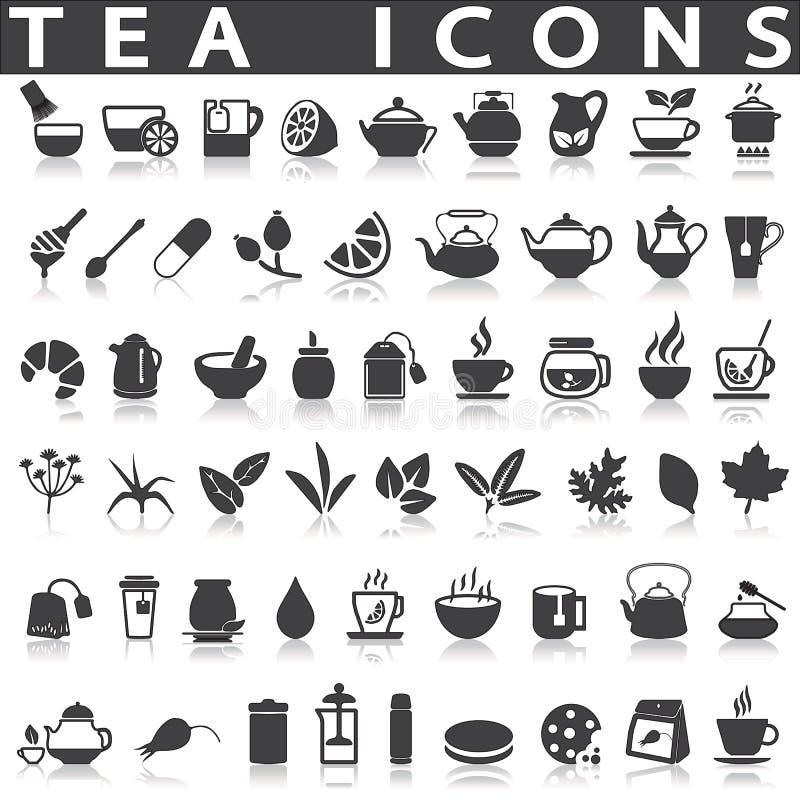 Ícones do chá ilustração royalty free