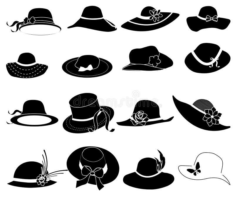 Ícones do chapéu das senhoras ajustados ilustração royalty free