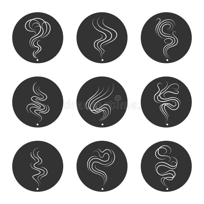 Ícones do cheiro do fumo nos círculos ilustração do vetor