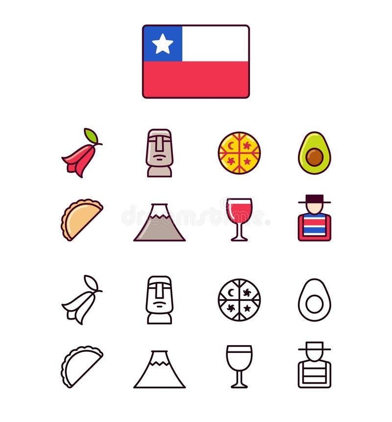 Ícones do Chile ajustados ilustração royalty free