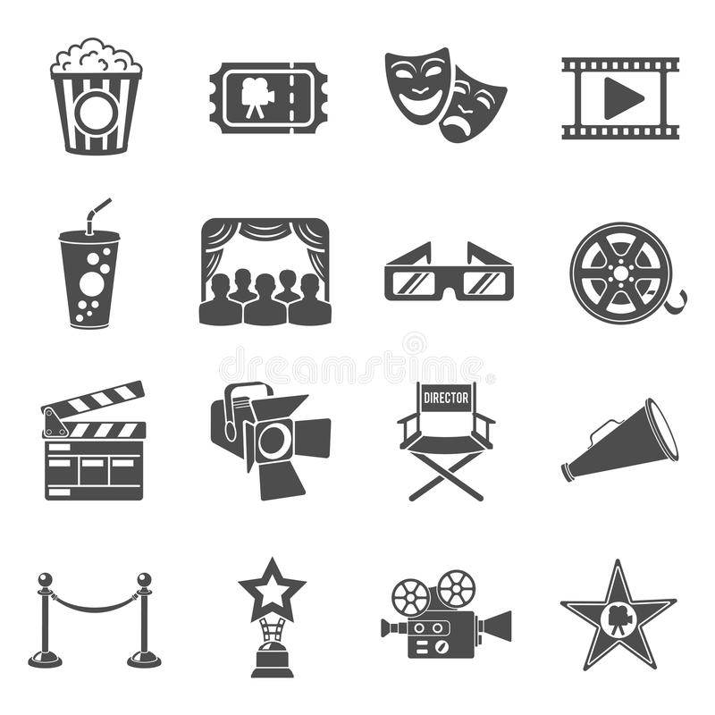 Ícones do cinema e do filme ajustados ilustração do vetor