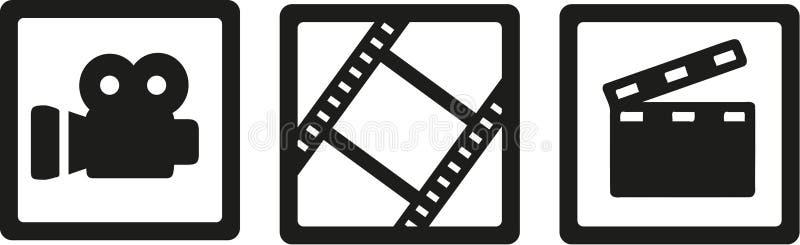 Ícones do cinema do filme - câmera, carretel de filme e clapperboard ilustração stock