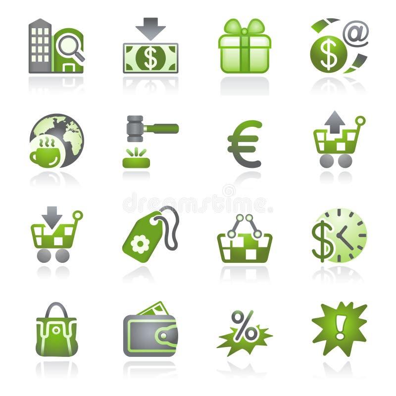 Ícones do comércio. Série cinzenta e verde. ilustração stock