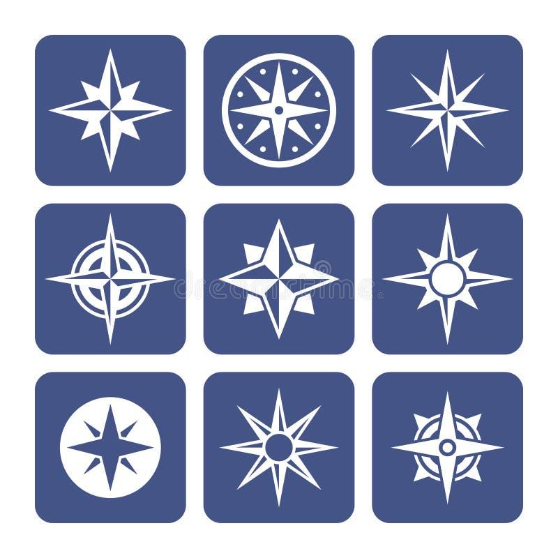 Ícones do compasso ajustados ilustração do vetor