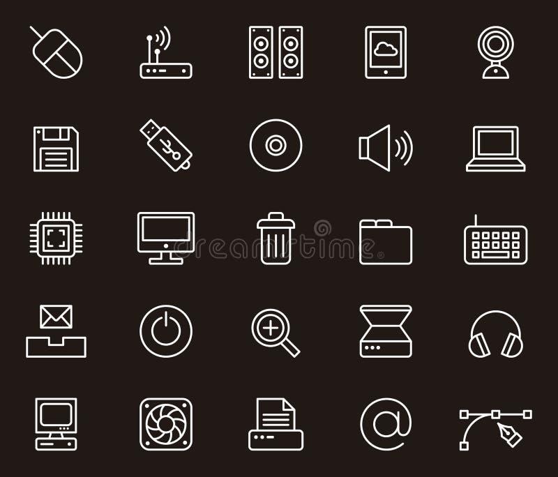 Ícones do computador ajustados ilustração royalty free