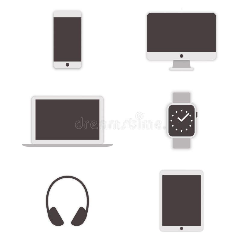 Ícones do computador ajustados Vetor ilustração royalty free