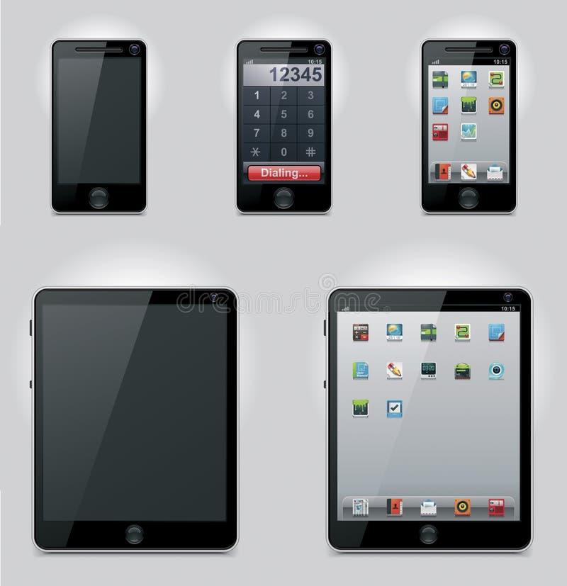 Ícones do computador da tabuleta do vetor e do telefone móvel ilustração stock