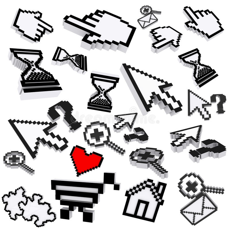 Ícones do computador do pixel ilustração royalty free