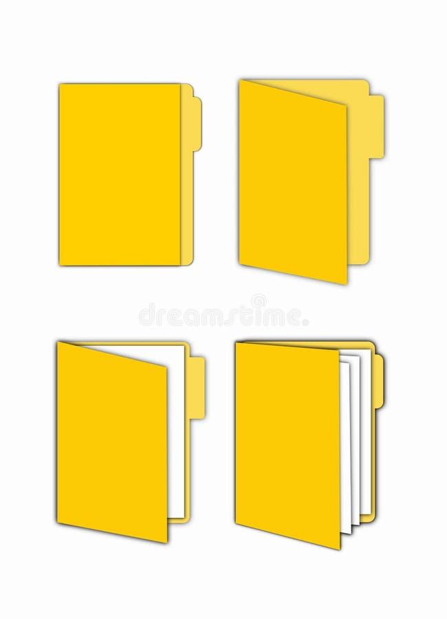 Ícones do computador dos arquivos fechados, vazios e abertos imagem de stock royalty free