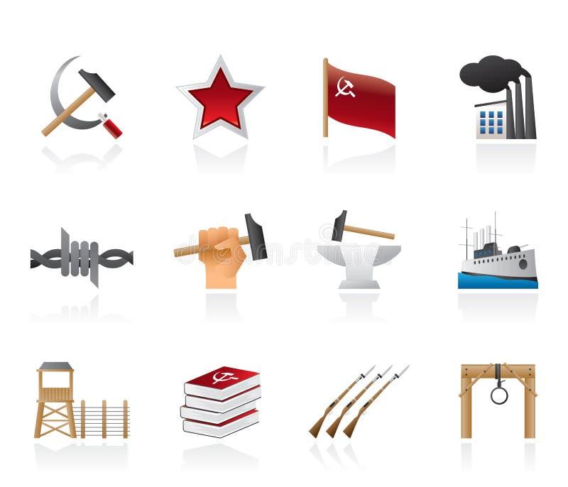 Ícones do comunismo, do socialismo e da volta ilustração royalty free