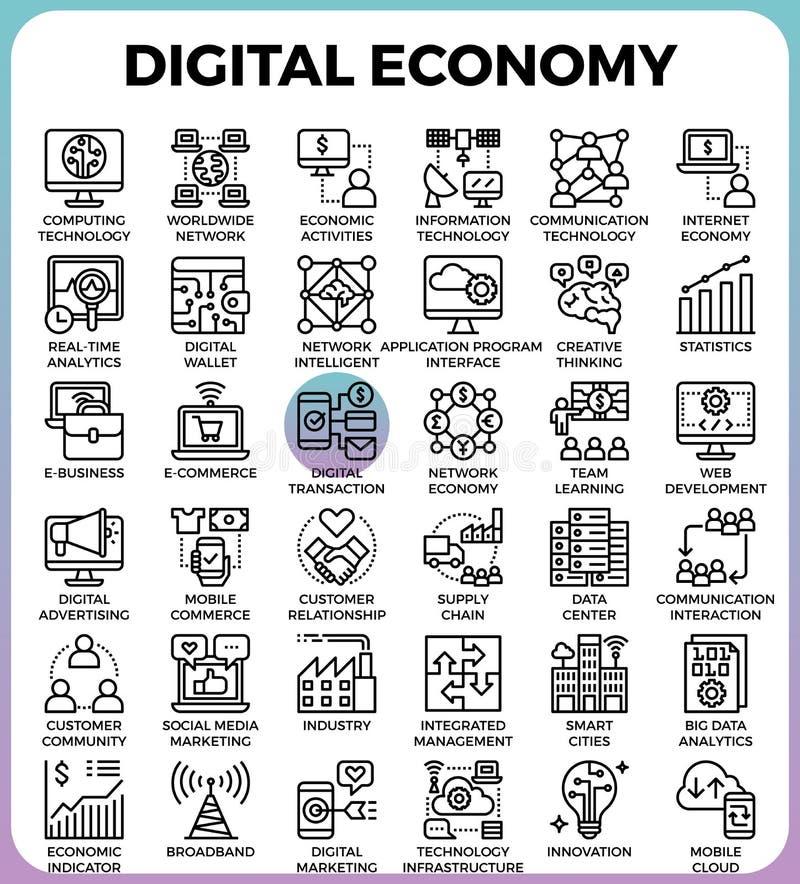 Ícones do conceito da economia de Digitas ilustração do vetor