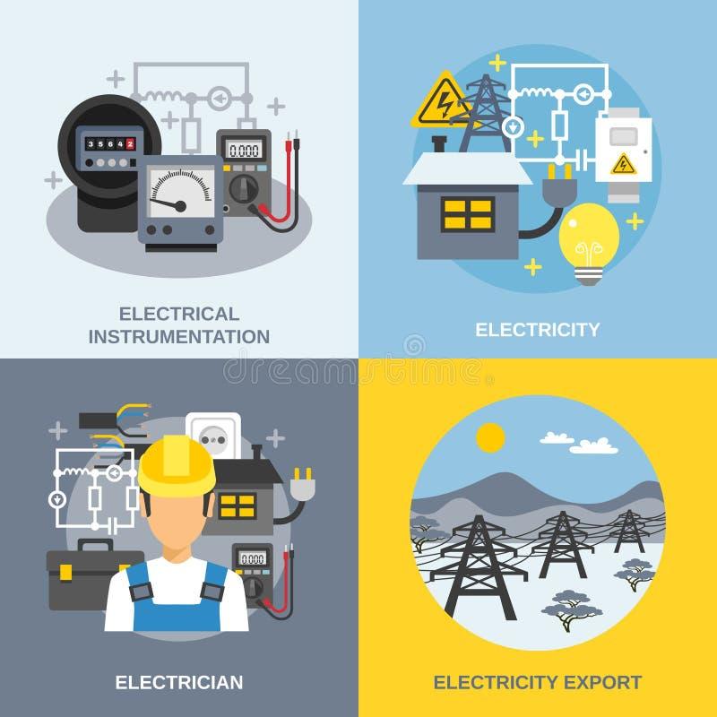 Ícones do conceito da eletricidade ajustados ilustração royalty free