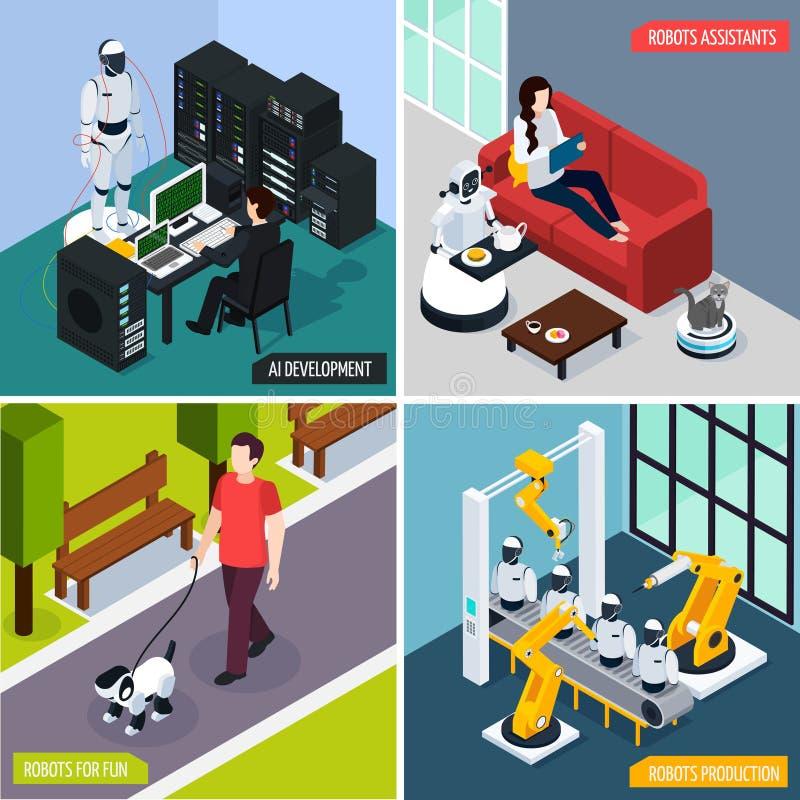 Ícones do conceito da inteligência artificial ajustados ilustração do vetor