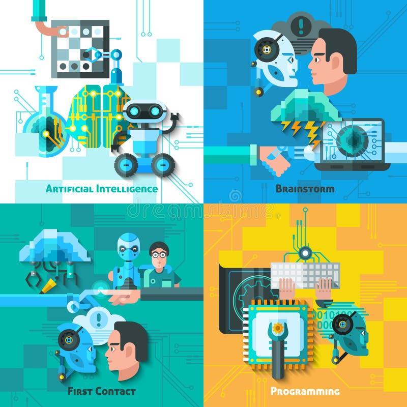 Ícones do conceito da inteligência artificial ajustados
