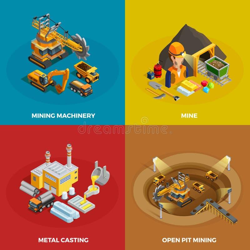 Ícones do conceito da mineração ajustados ilustração royalty free
